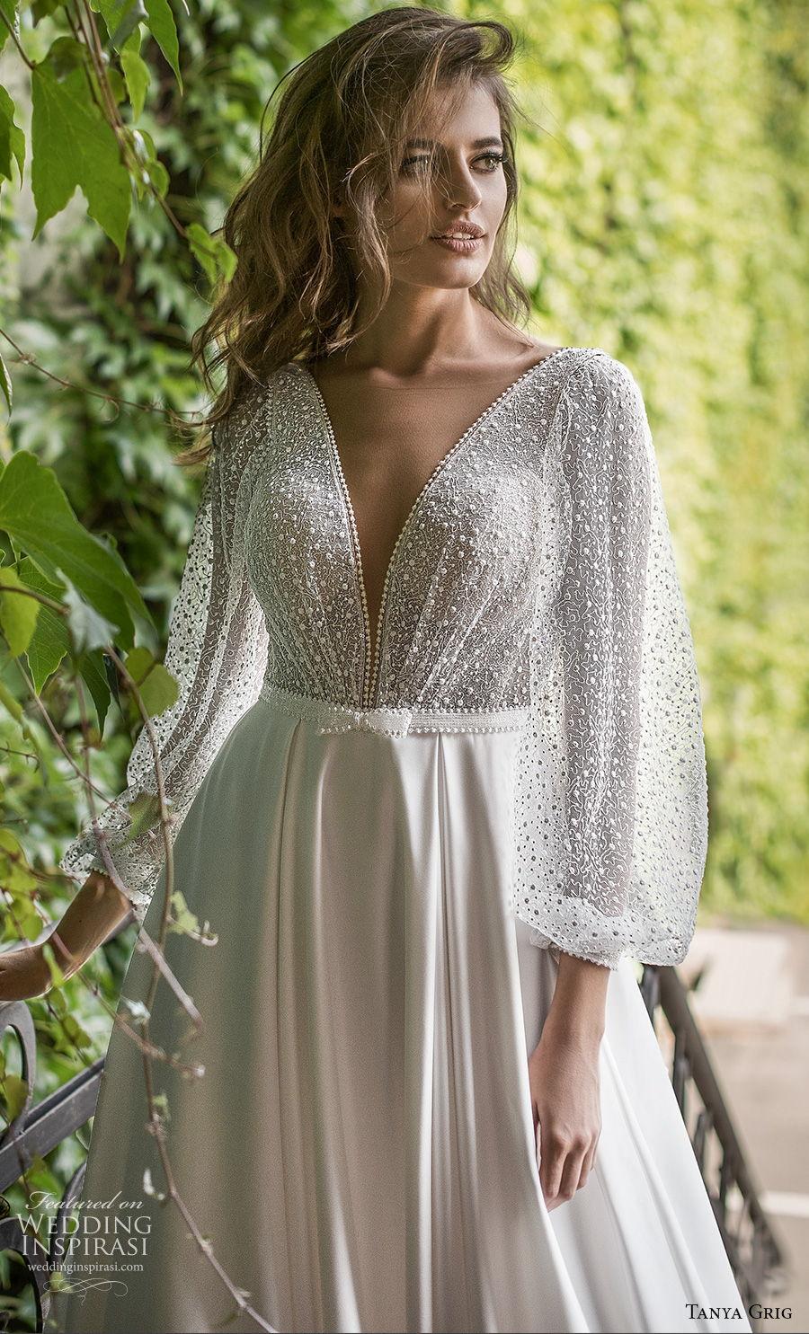 tanya grig 2021 bridal long bishop sleeves deep v neck heavily embellished bodice romantic a  line wedding dress backless v back chapel train (1) zv