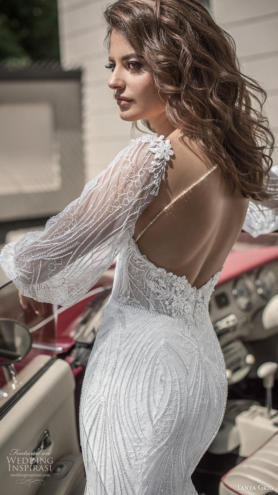 tanya grig 2021 bridal long bishop sleeves sweetheart neckline full embellishment elegant mermaid wedding dress keyhole back chapel train (10) bv