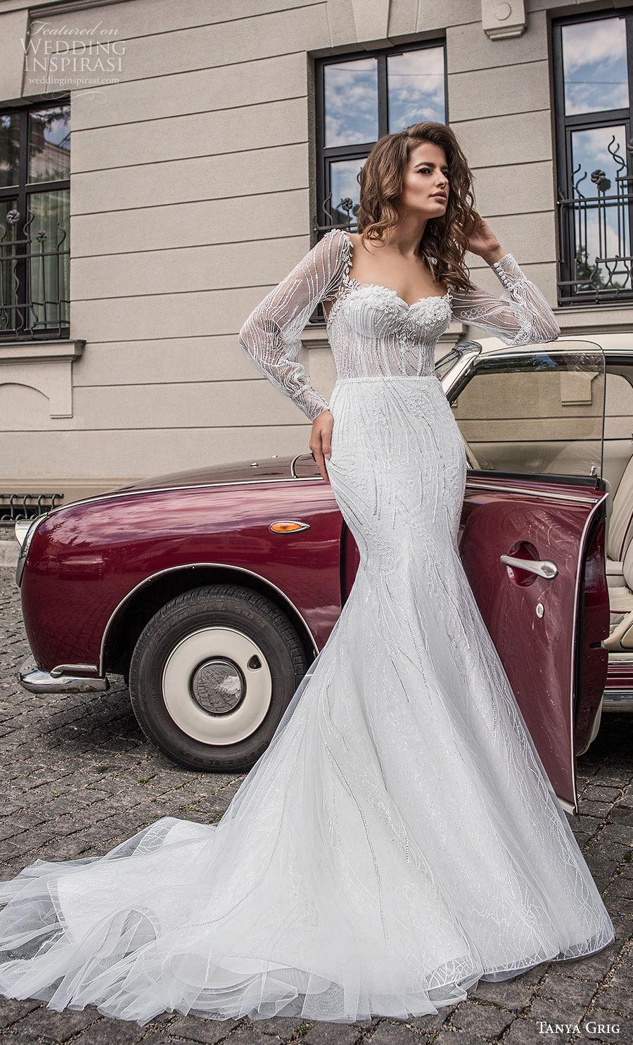 tanya grig 2021 bridal long bishop sleeves sweetheart neckline full embellishment elegant mermaid wedding dress keyhole back chapel train (10) mv