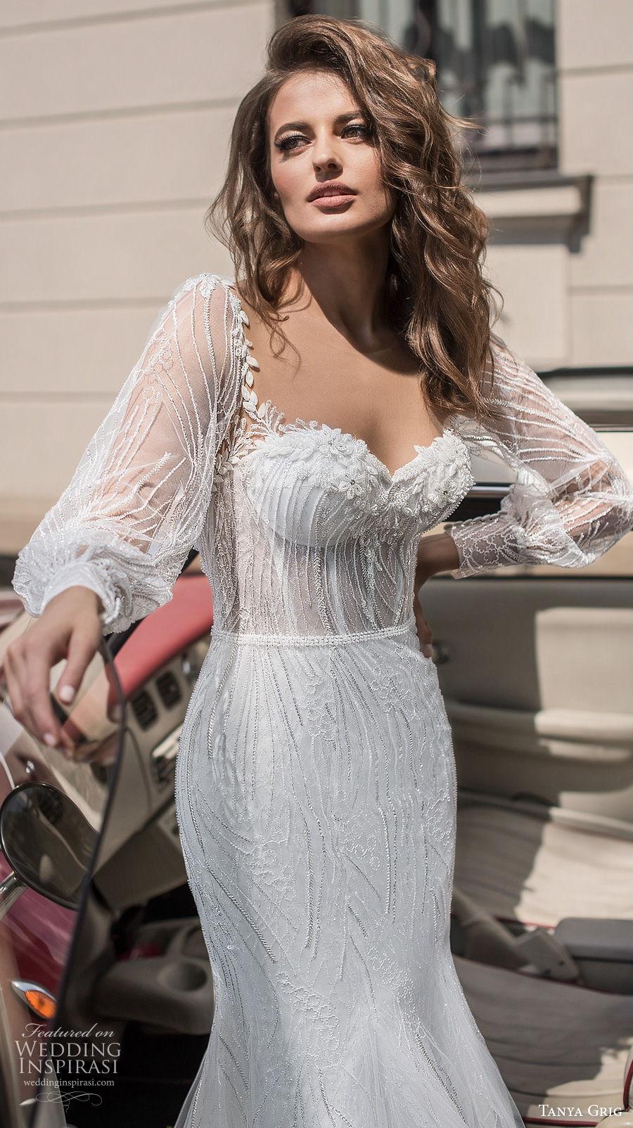 tanya grig 2021 bridal long bishop sleeves sweetheart neckline full embellishment elegant mermaid wedding dress keyhole back chapel train (10) zv