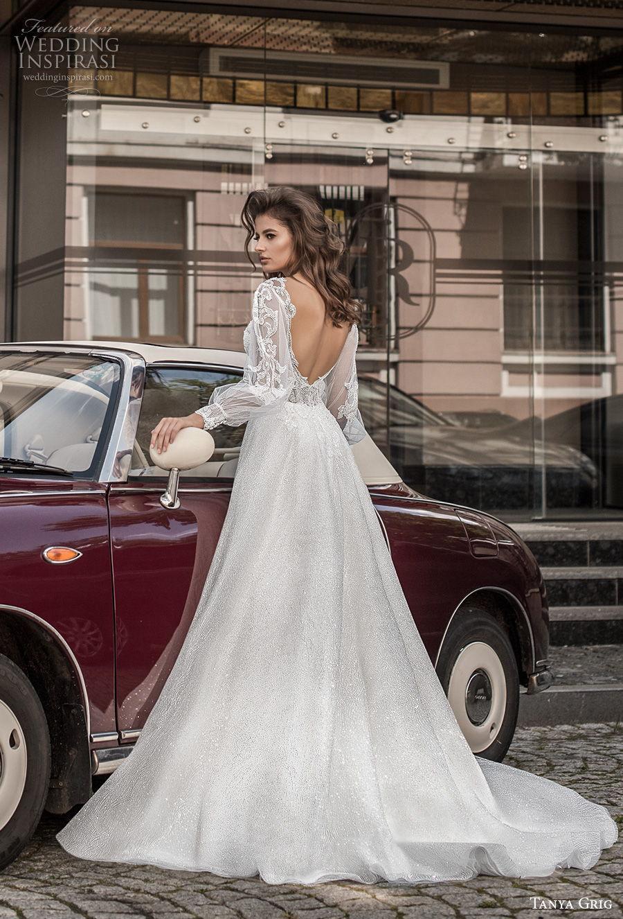 tanya grig 2021 bridal long bishop sleeves sweetheart neckline heavily embellished bodice romantic a  line wedding dress backless v back chapel train (13) bv