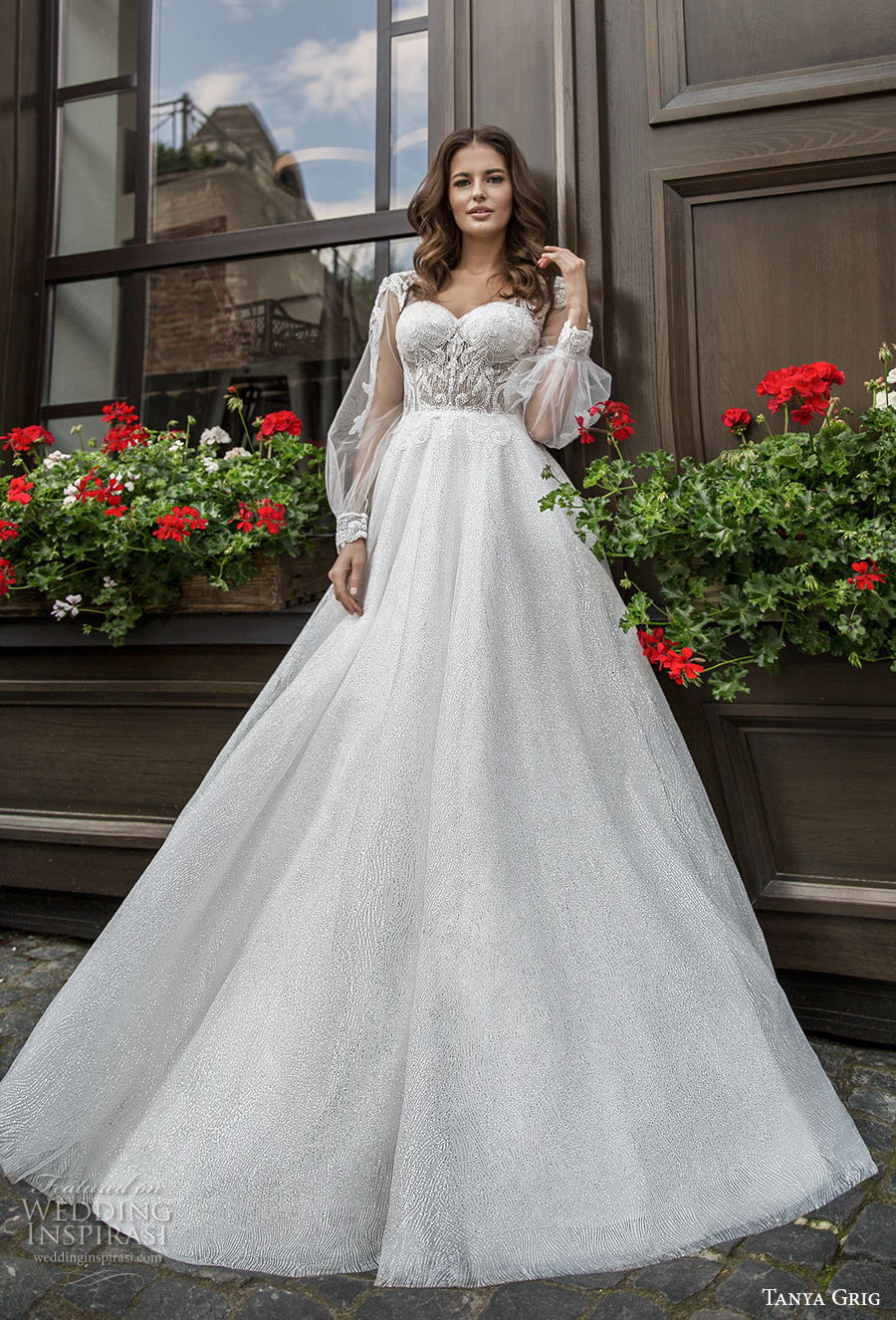 tanya grig 2021 bridal long bishop sleeves sweetheart neckline heavily embellished bodice romantic a  line wedding dress backless v back chapel train (13) mv