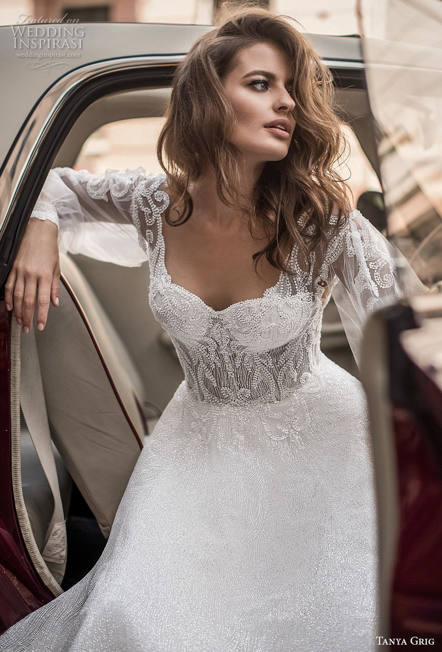 tanya grig 2021 bridal long bishop sleeves sweetheart neckline heavily embellished bodice romantic a  line wedding dress backless v back chapel train (13) zv