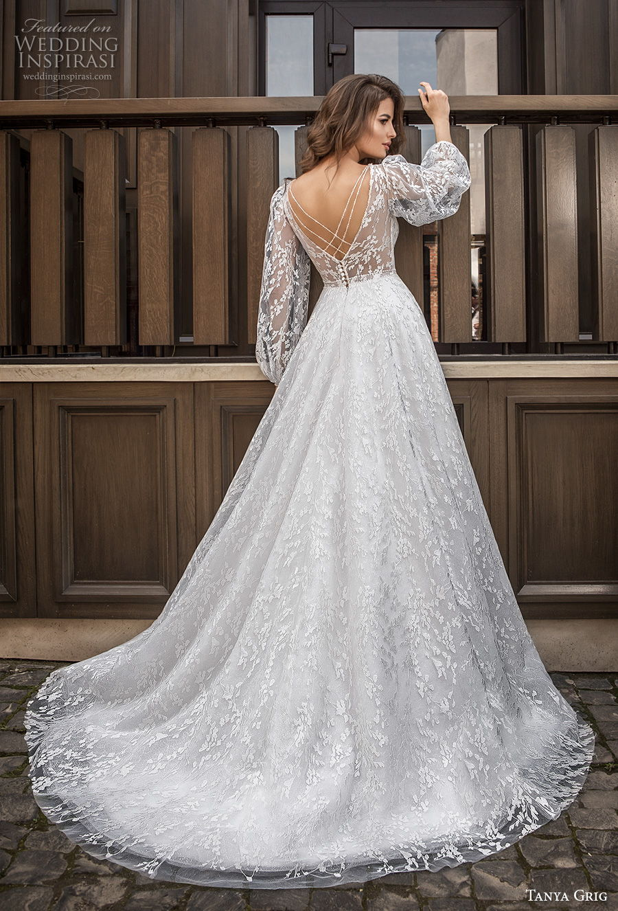 tanya grig 2021 bridal long bishop sleeves v neck full embellishment romantic a  line wedding dress v back chapel train (15) bv