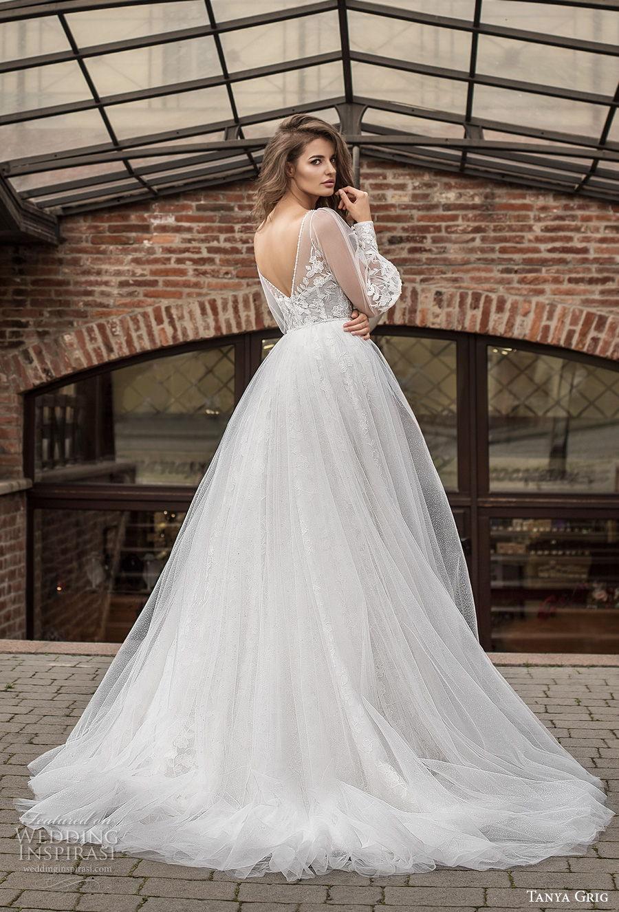 tanya grig 2021 bridal long bishop sleeves v neck full embellishment romantic a  line wedding dress v back medium train (7) bv