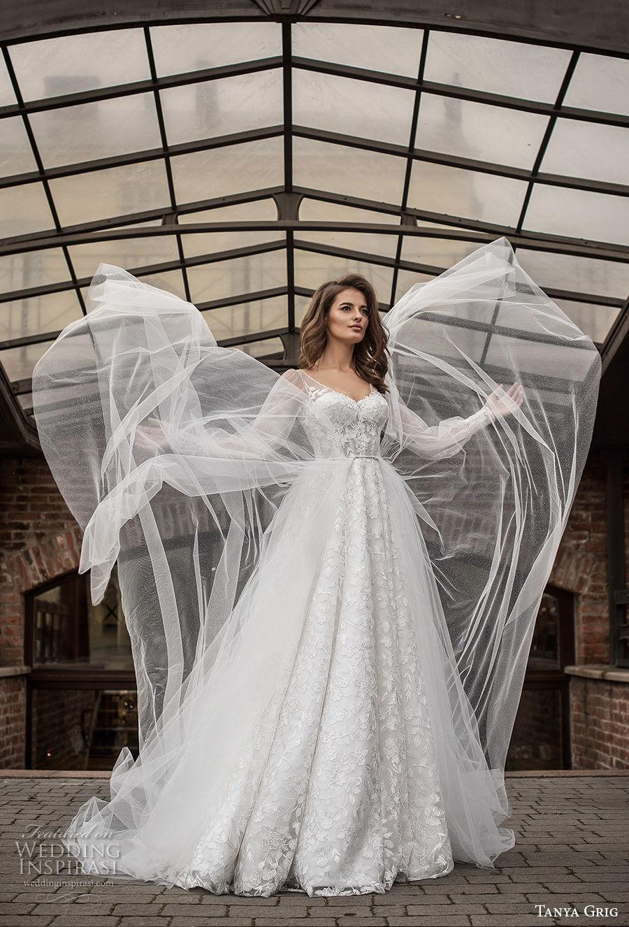 tanya grig 2021 bridal long bishop sleeves v neck full embellishment romantic a  line wedding dress v back medium train (7) mv