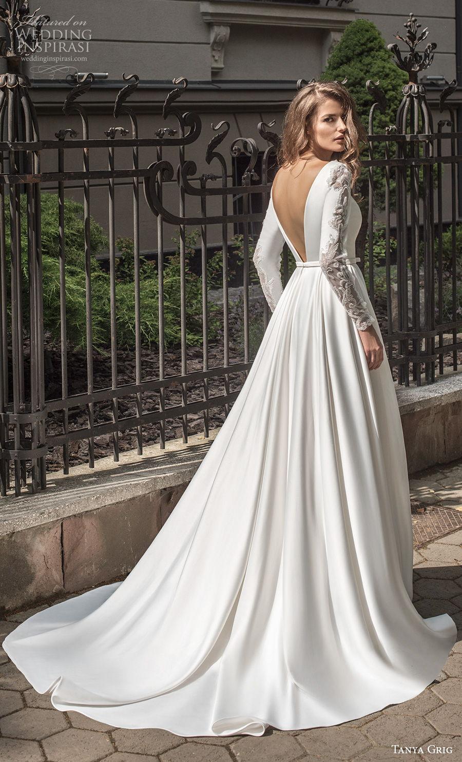 tanya grig 2021 bridal long sleeves deep v neck simple elegant minimalist a  line wedding dress backless v back chapel train (3) bv