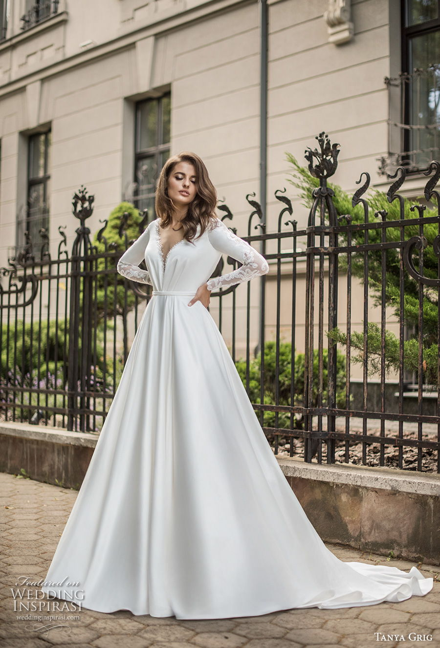 tanya grig 2021 bridal long sleeves deep v neck simple elegant minimalist a  line wedding dress backless v back chapel train (3) mv