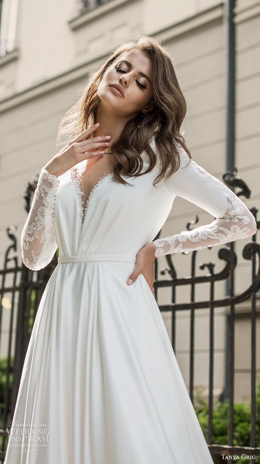 tanya grig 2021 bridal long sleeves deep v neck simple elegant minimalist a  line wedding dress backless v back chapel train (3) zv