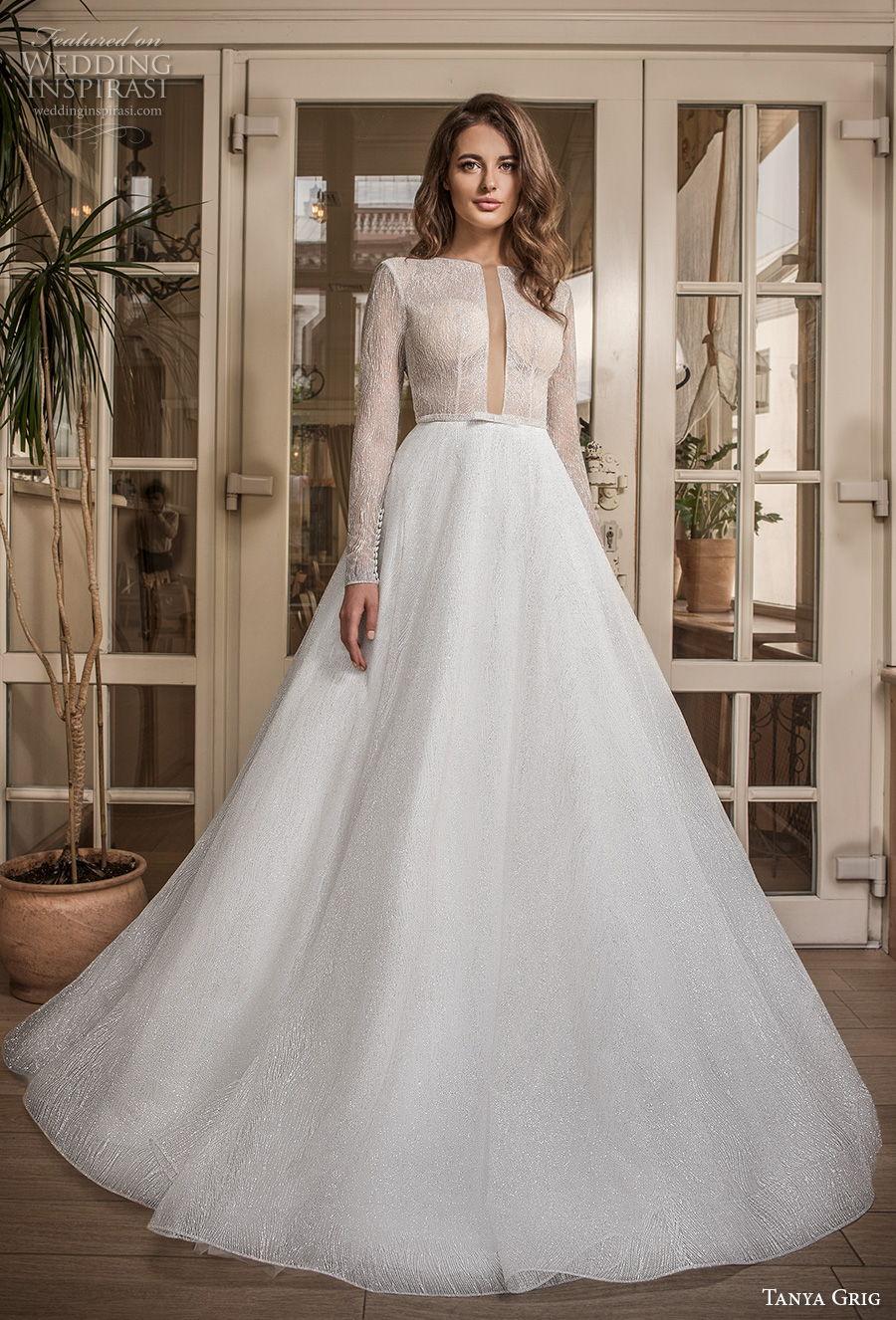 tanya grig 2021 bridal long sleeves ful embelishment plunging keyhole bodice modern chic a  line wedding dress v back (16) mv
