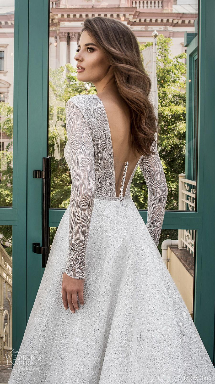 tanya grig 2021 bridal long sleeves ful embelishment plunging keyhole bodice modern chic a  line wedding dress v back (16) zbv
