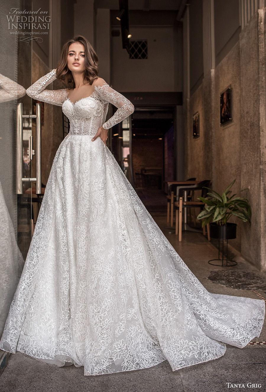 tanya grig 2021 bridal long sleeves off the shoulder sweetheart neckline full embellishment princess a  line wedding dress sheer button back chapel train (8) mv