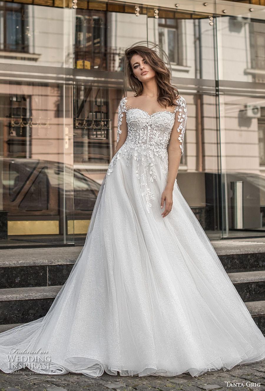 tanya grig 2021 bridal long sleeves sweetheart neckline heavily embellished bodice romantic a  line wedding dress sheer button back chapel train (4) mv