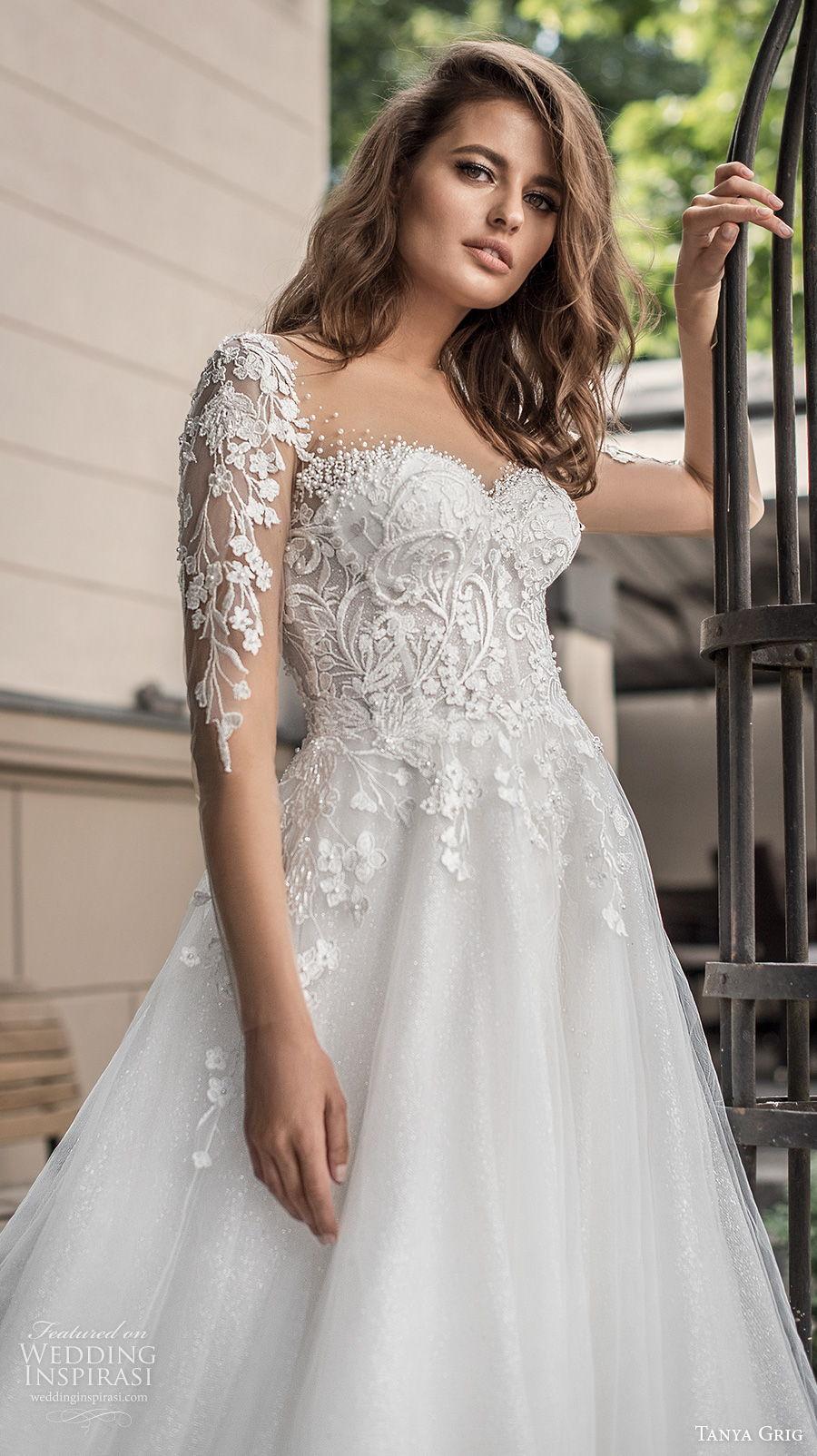 tanya grig 2021 bridal long sleeves sweetheart neckline heavily embellished bodice romantic a  line wedding dress sheer button back chapel train (4) zv