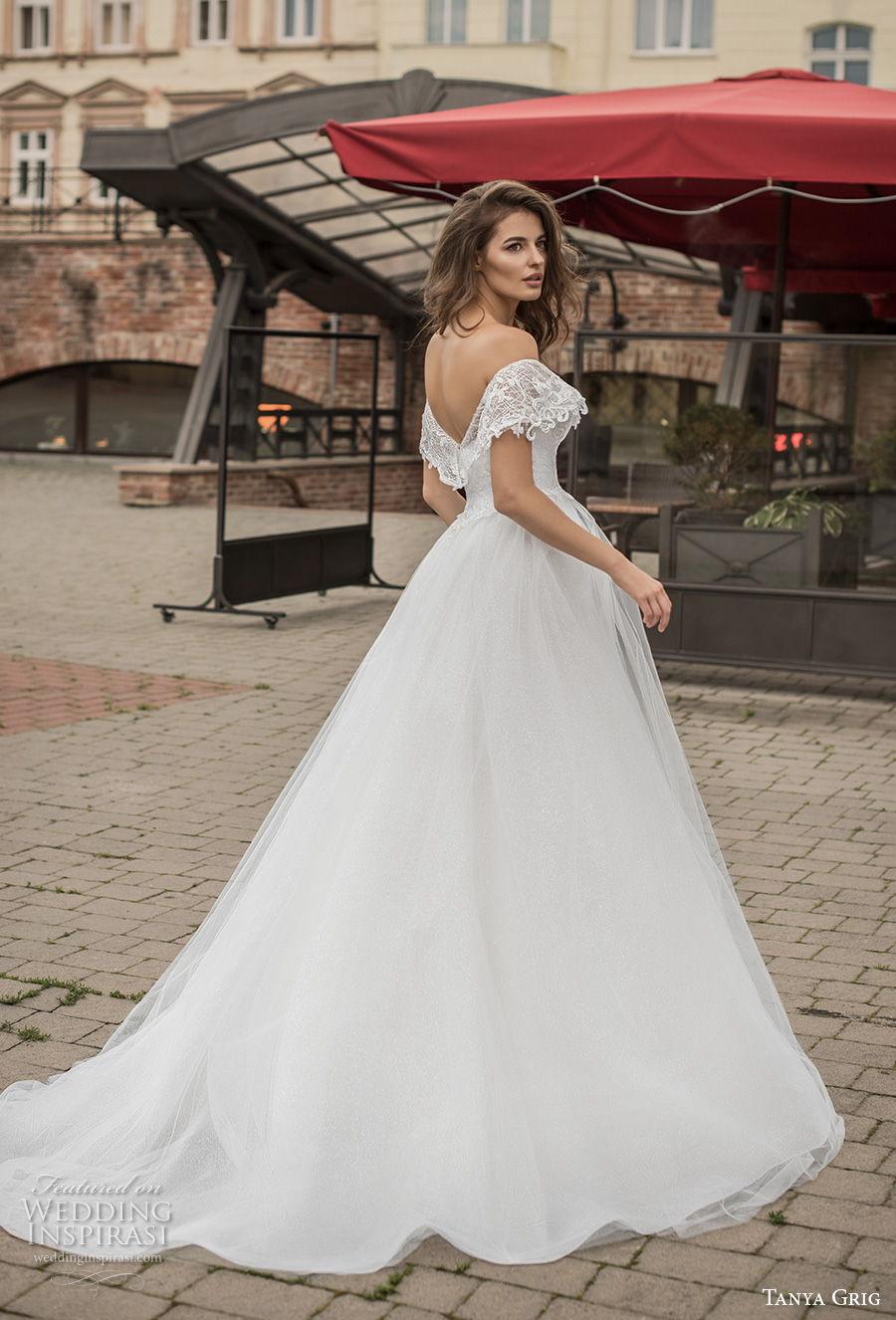 tanya grig 2021 bridal off the shoulder short sleeves v neck wrap over heavily embellished bodice romantic a  line wedding dress v back chapel train (9) bv