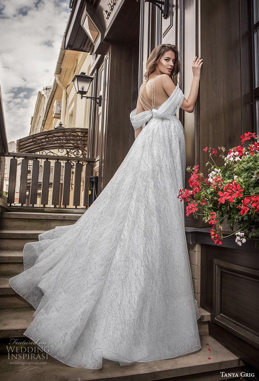 tanya grig 2021 bridal off the shoulder sweetheart neckline light embellishment romantic a  line wedding dress sheer v back chapel train (6) bv
