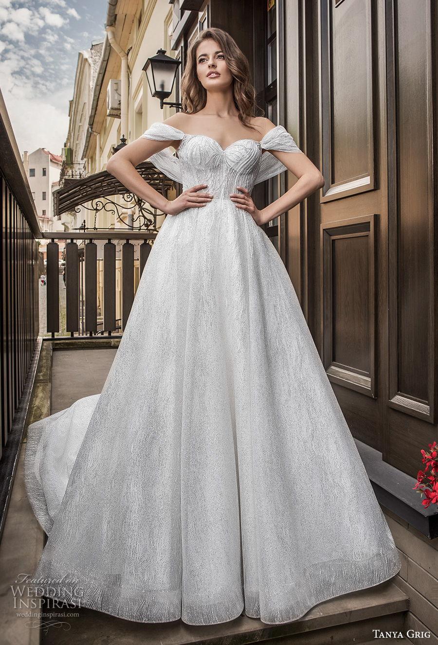 tanya grig 2021 bridal off the shoulder sweetheart neckline light embellishment romantic a  line wedding dress sheer v back chapel train (6) mv