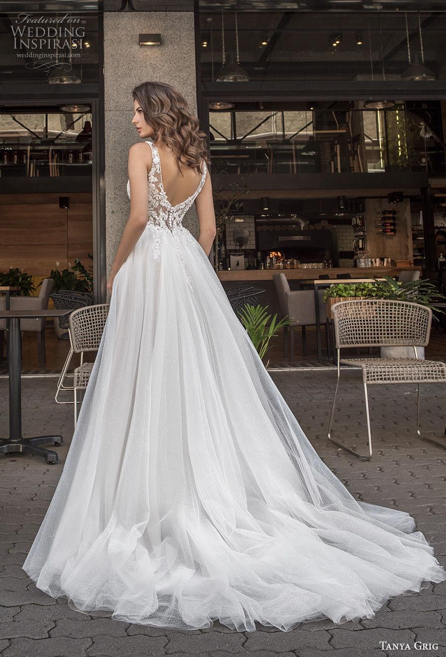tanya grig 2021 bridal sleeveless thin strap deep sweetheart neckline heavily embellished bodice slit skirt romantic a  line wedding dress v back chapel train (17) bv