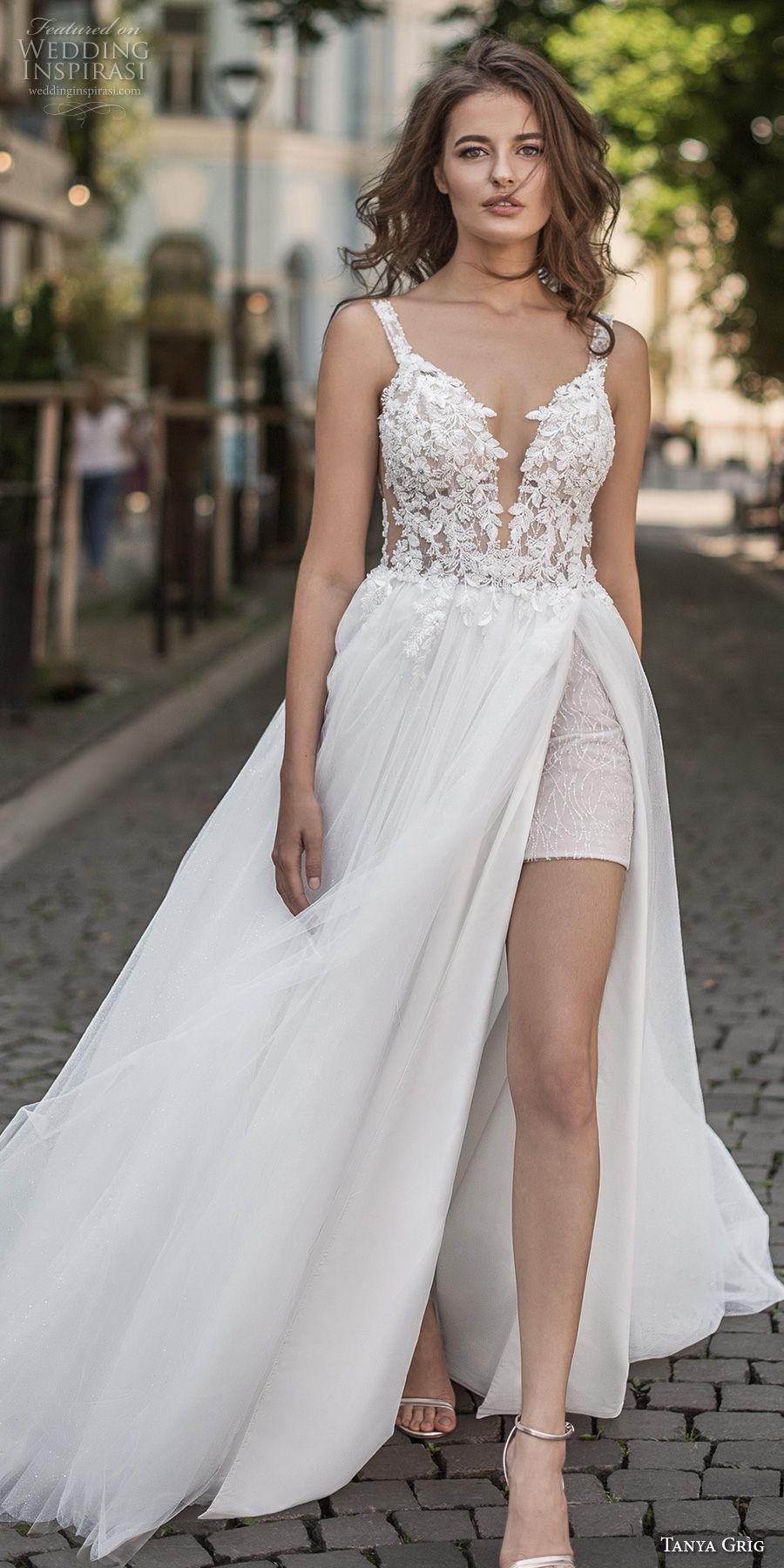 tanya grig 2021 bridal sleeveless thin strap deep sweetheart neckline heavily embellished bodice slit skirt romantic a  line wedding dress v back chapel train (17) lv