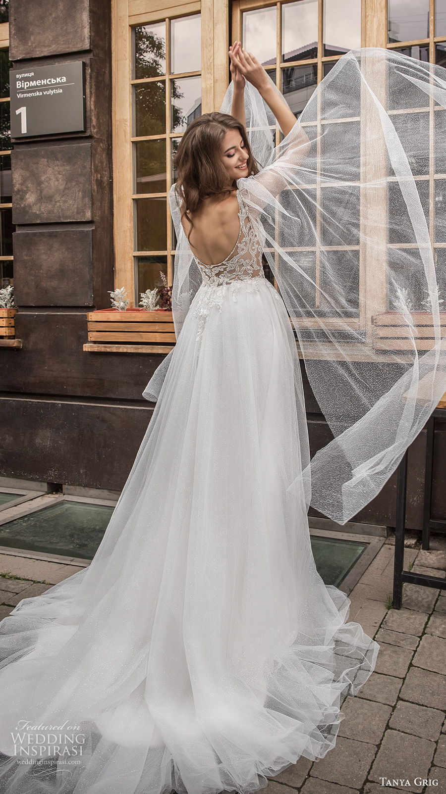 tanya grig 2021 bridal sleeveless thin strap v neck heavily embellised bodice high slit skirt sexy romantic soft a  line wedding dress backless scoop back chapel train (6) bv