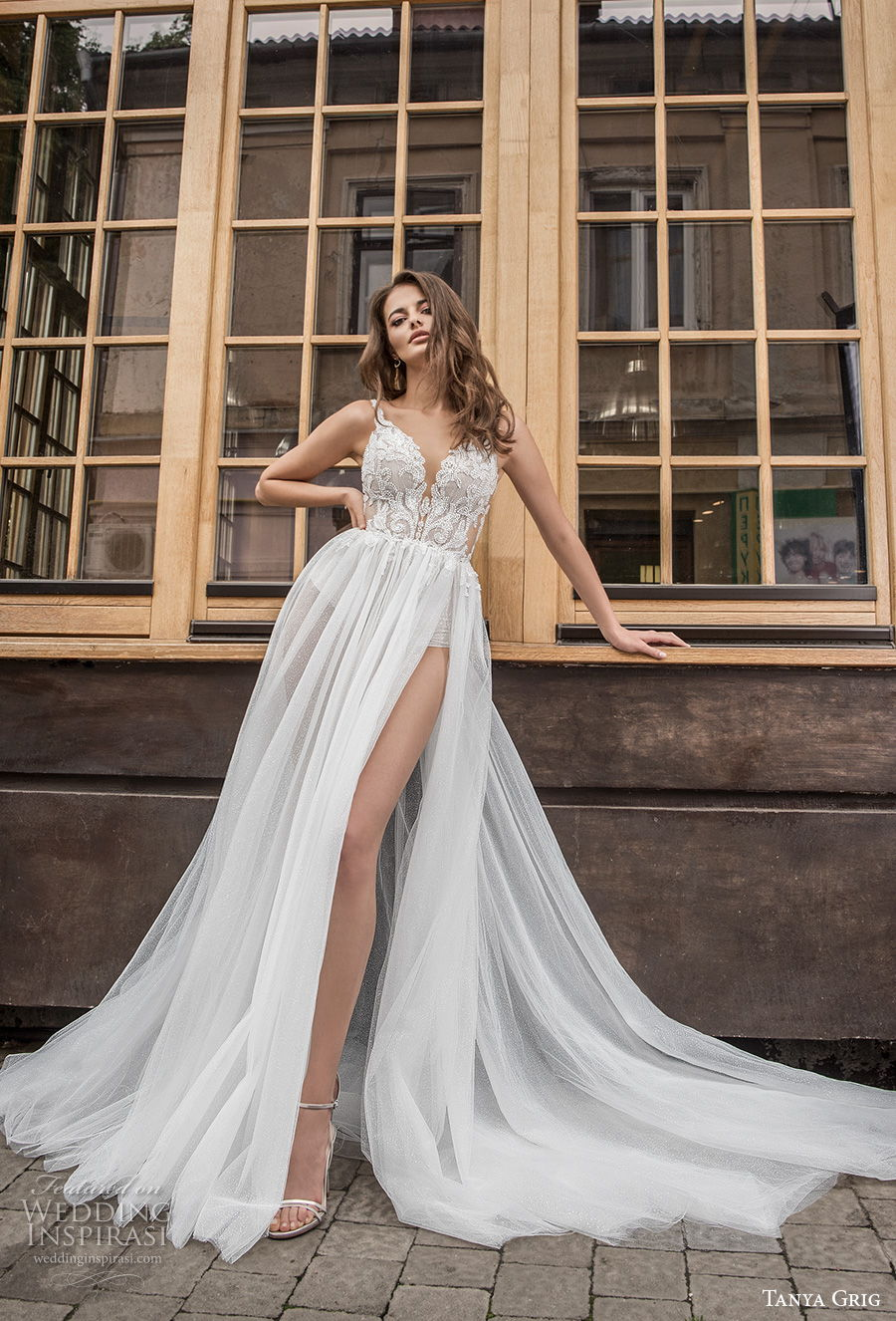 tanya grig 2021 bridal sleeveless thin strap v neck heavily embellised bodice high slit skirt sexy romantic soft a  line wedding dress backless scoop back chapel train (6) mv