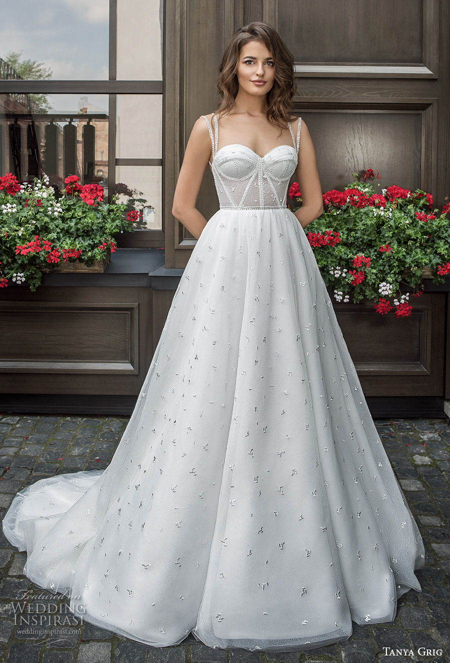 tanya grig 2021 bridal sleevless double strap sweetheart neckline light embellishment bustier romantic a  line wedding dress chapel train (11) mv