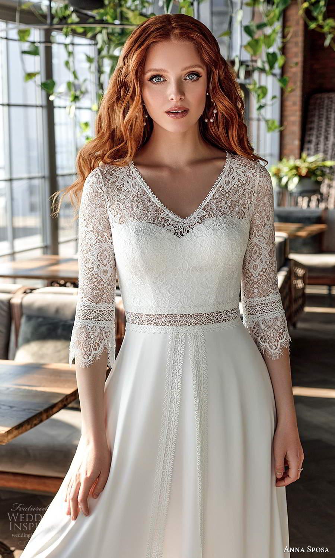 anna sposa 2021 boho bridal 3 quarter sleeves v neckline embellished lace bodice boho chic a line wedding dress chapel train (21) zv