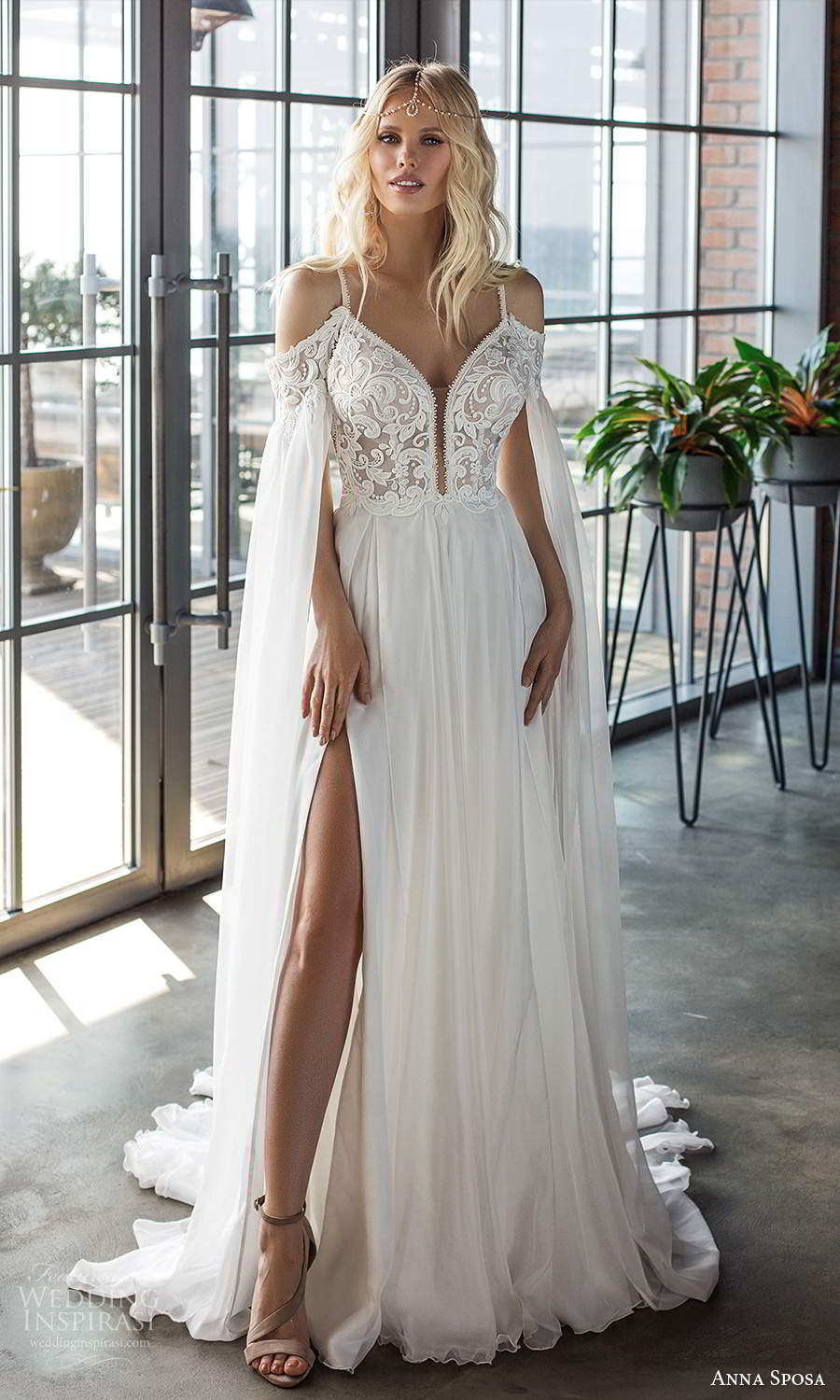 anna sposa 2021 boho bridal detached split long sleeves sleeveless straps plunging sweetheart neckline embellished bodice a line wedding dress slit skirt chapel train (1) mv