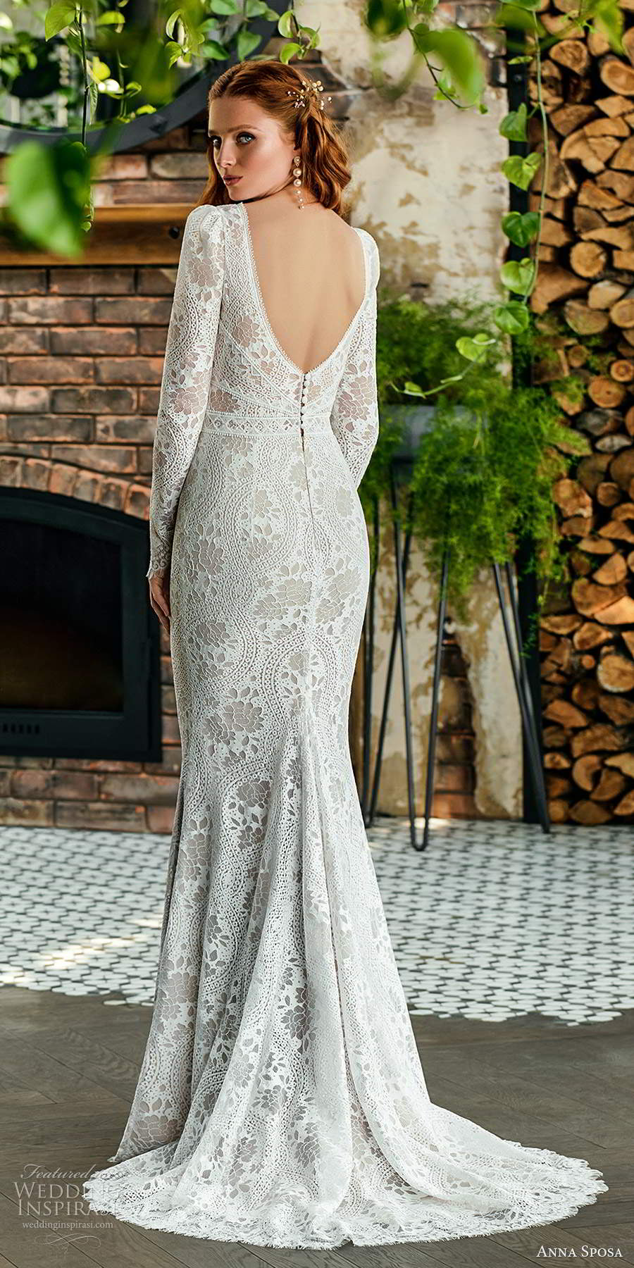 anna sposa 2021 boho bridal long puff sleeves plunging v neckline embellished lace sheath wedding dress scoop back chapel train (6) bv