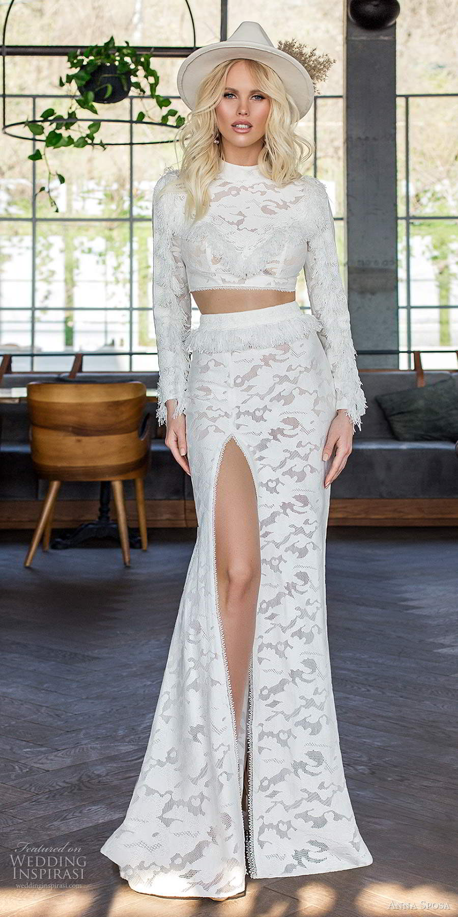 anna sposa 2021 boho bridal long sleeve high neckline crop top fully embellished two piece slit sheath skirt boho wedding dress (3) mv