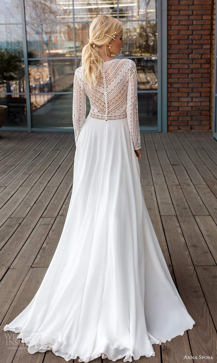 anna sposa 2021 boho bridal long sleeves plunging v neckline embellished lace bodice clean skirt a line ball gown wedding dress chapel train (10) bv