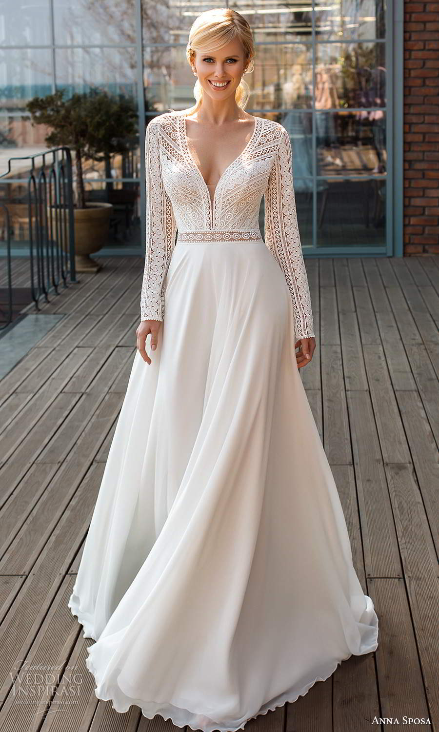 anna sposa 2021 boho bridal long sleeves plunging v neckline embellished lace bodice clean skirt a line ball gown wedding dress chapel train (10) mv
