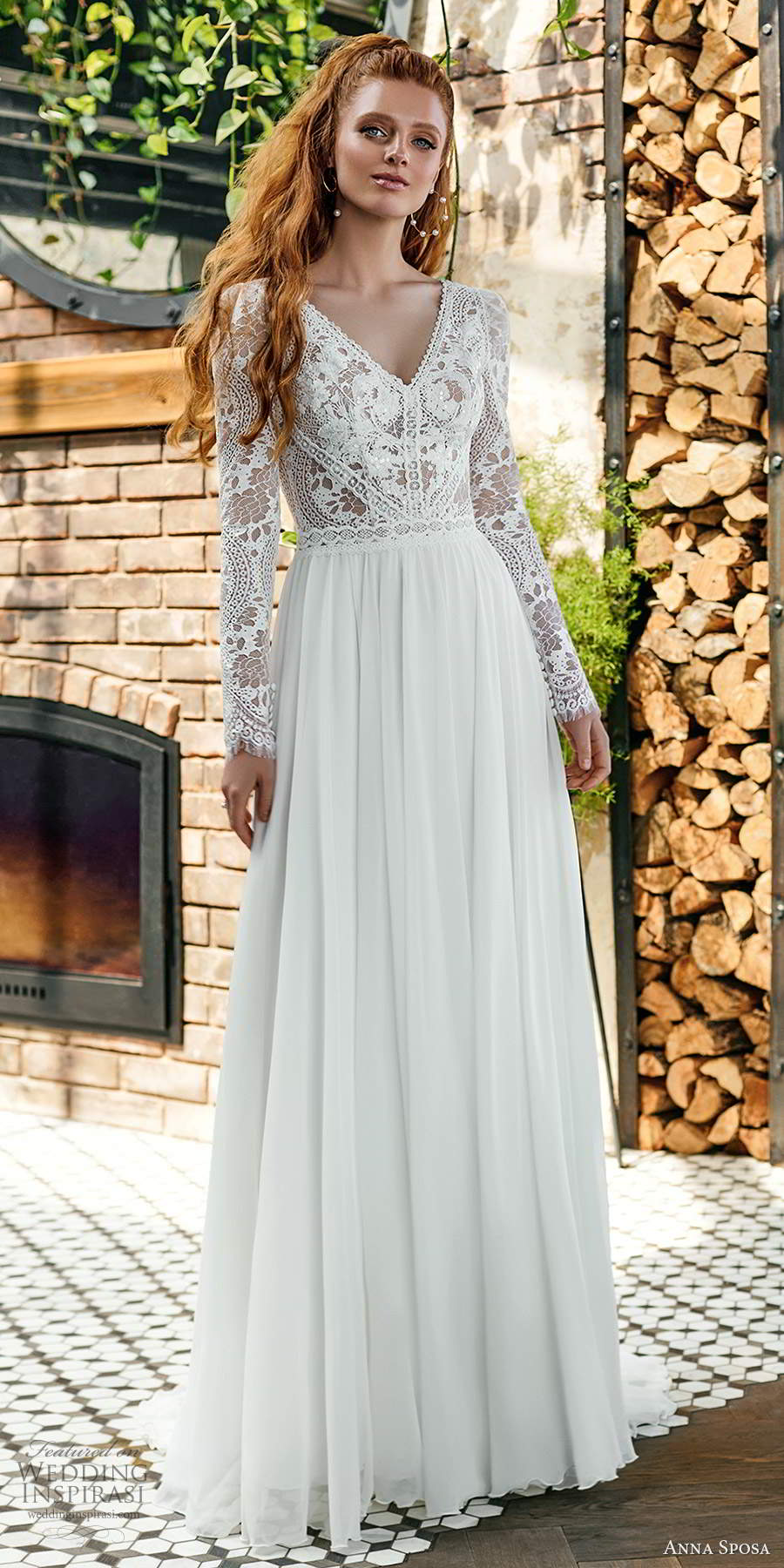 anna sposa 2021 boho bridal long sleeves v neckline embellished lace bodice clean skirt a line ball gown wedding dress scoop back chapel train (7) mv