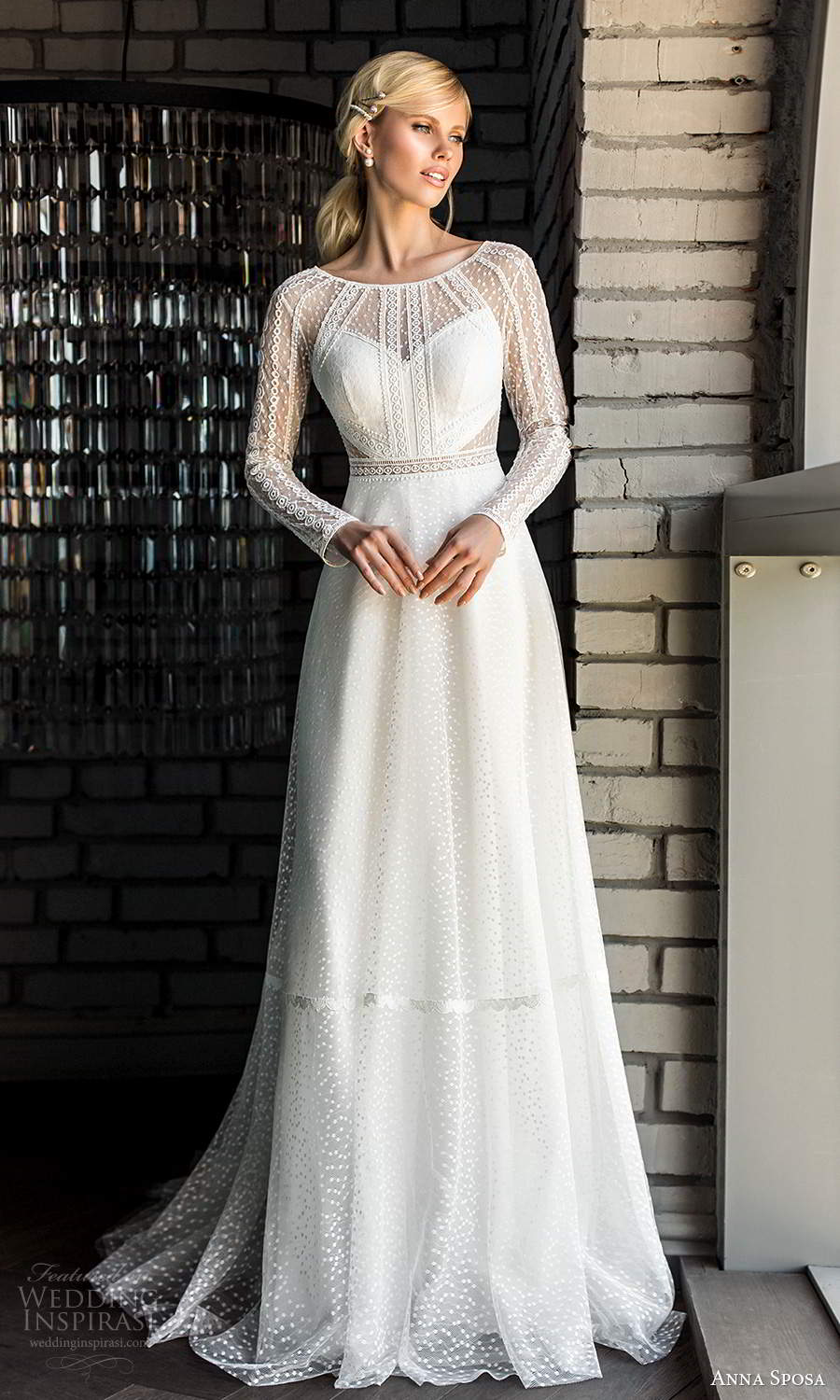 anna sposa 2021 boho bridal sheer long sleeves bateau neckline embellished bodice a line ball gown wedding dress (17) mv