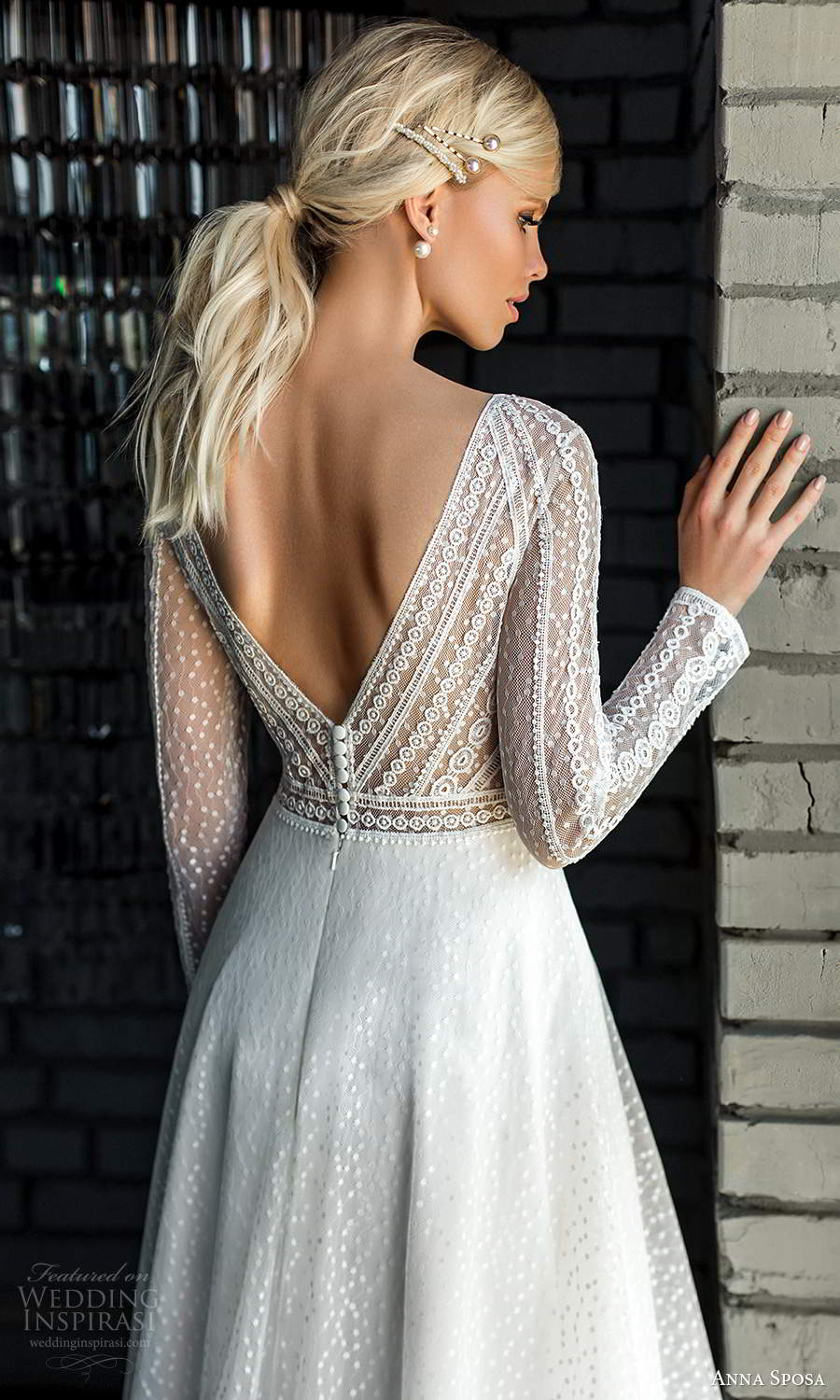anna sposa 2021 boho bridal sheer long sleeves bateau neckline embellished bodice a line ball gown wedding dress v back (17) zbv