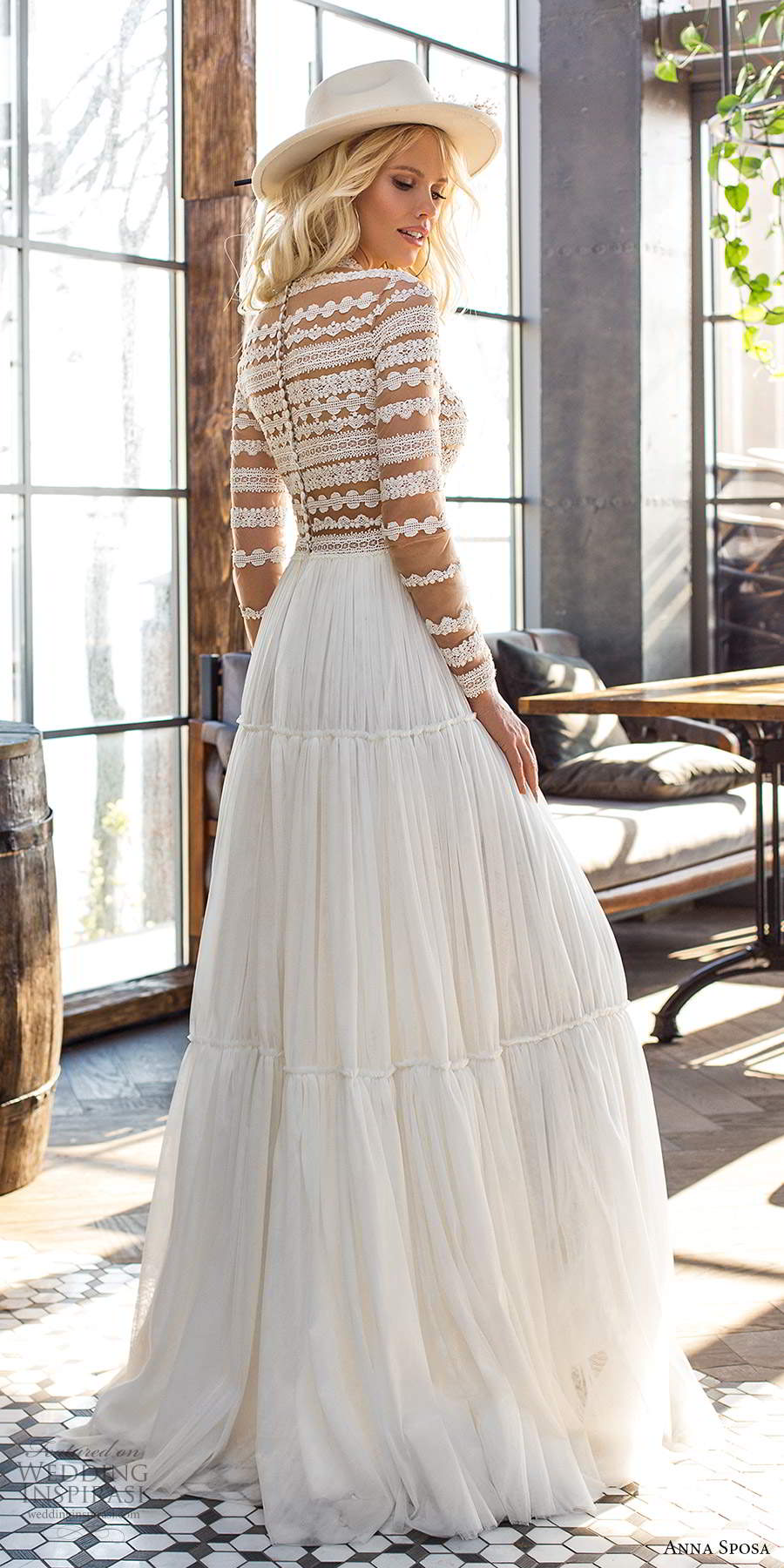anna sposa 2021 boho bridal sheer long sleeves high neckline embellished lace bodice boho a line ball gown wedding dress tiered skirt sweep train (12) bv
