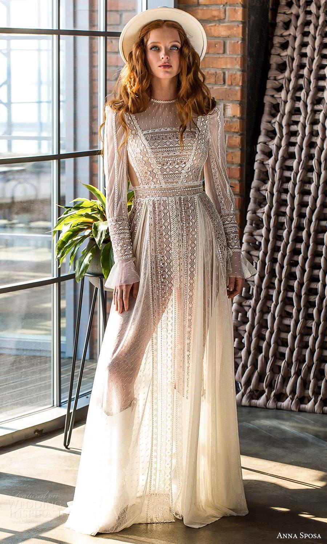 anna sposa 2021 boho bridal sheer long sleeves jewel neckline fully embellished lace a line bho wedding dress (13) mv