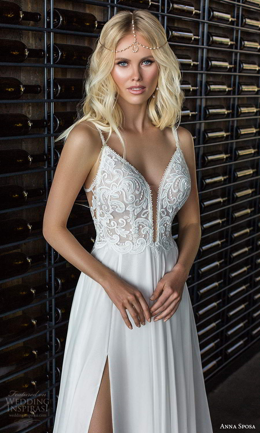anna sposa 2021 boho bridal sleeveless straps plunging sweetheart neckline embellished bodice a line wedding dress slit skirt chapel train (1) zv