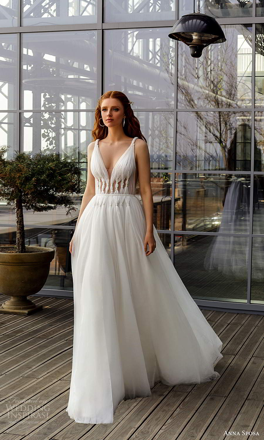 anna sposa 2021 boho bridal sleeveless straps plunging v neckline ruched bodice a line ball gown wedding dress (20) mv