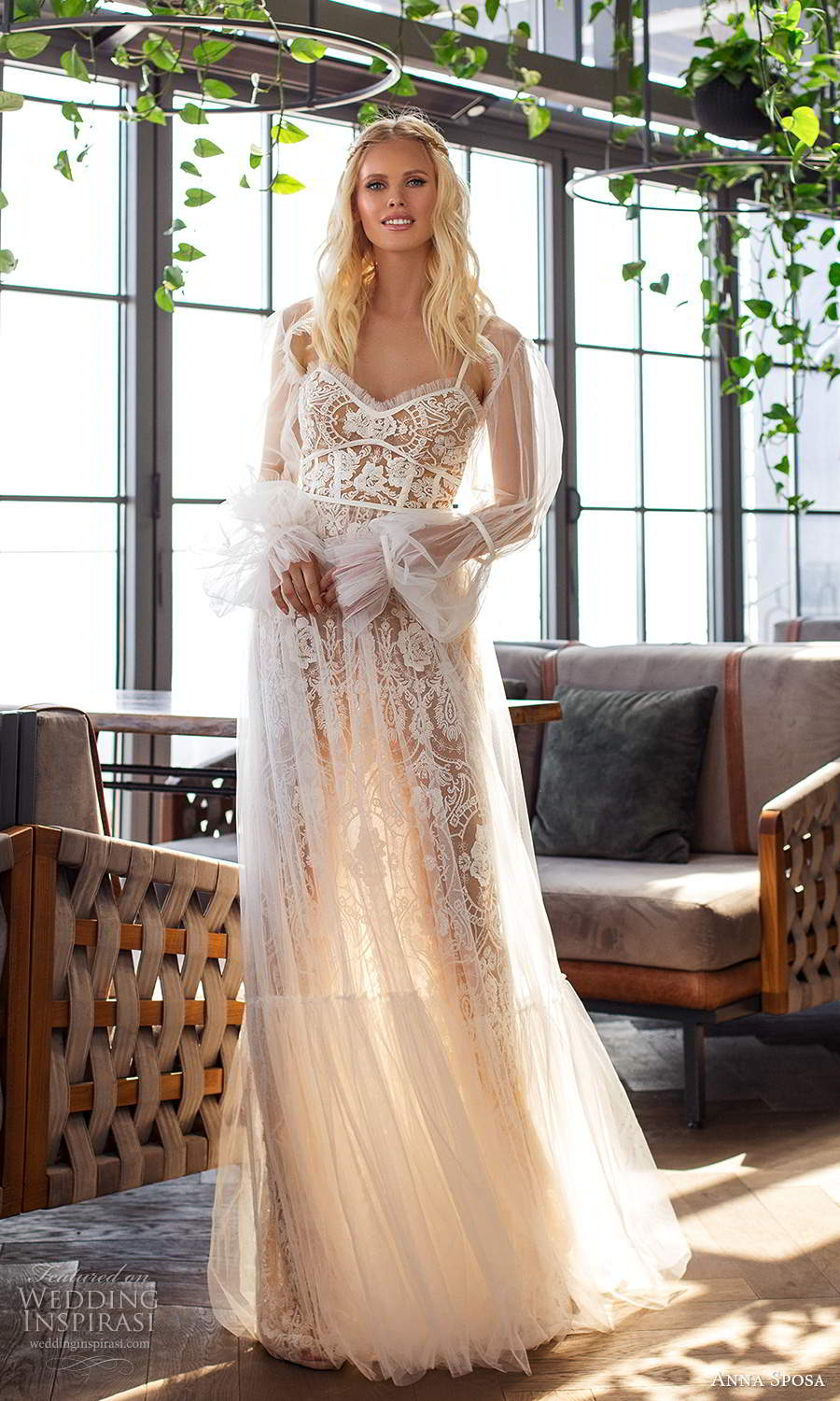 anna sposa 2021 boho bridal sleeveless straps semi sweetheart neckline fully embellished lace boho a line wedding dress sheer bishop sleeve top (9) mv