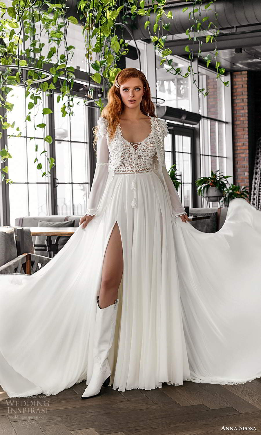 anna sposa 2021 boho bridal sleeveless straps sweetheart neckline embellished lace bodice a line wedding dress slit skirt boho chic long sleeve jacket (22) mv