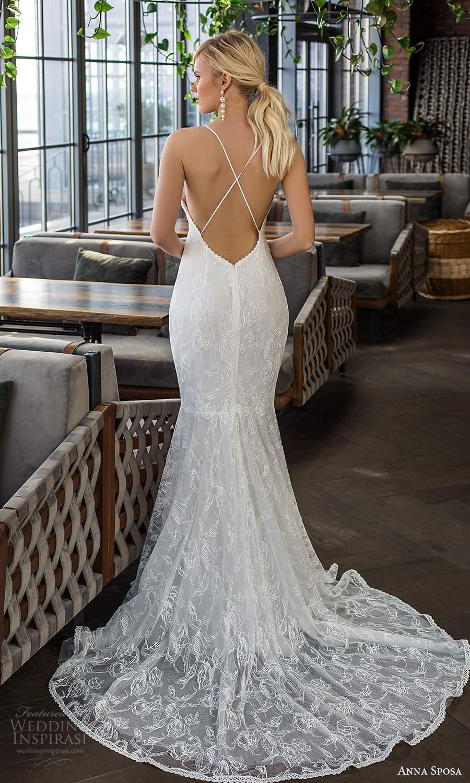 anna sposa 2021 boho bridal sleeveless thin straps semi sweetheart neckline lace fit flare sheath wedding dress chapel train open back (14) bv