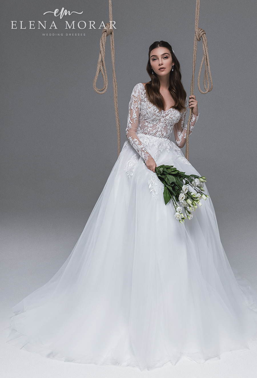elena morar 2021 desert rose bridal long sleeves v neck heavily embellished bodice romantic soft a line wedding dress lace button back medium train (031) mv
