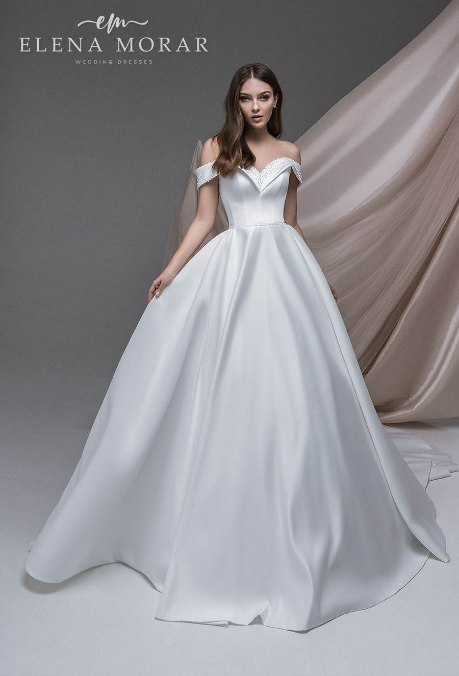 elena morar 2021 desert rose bridal off shoulder v neck simple minimalist elegant princess ball gown a line wedding dress mid back chapel train (007) mv
