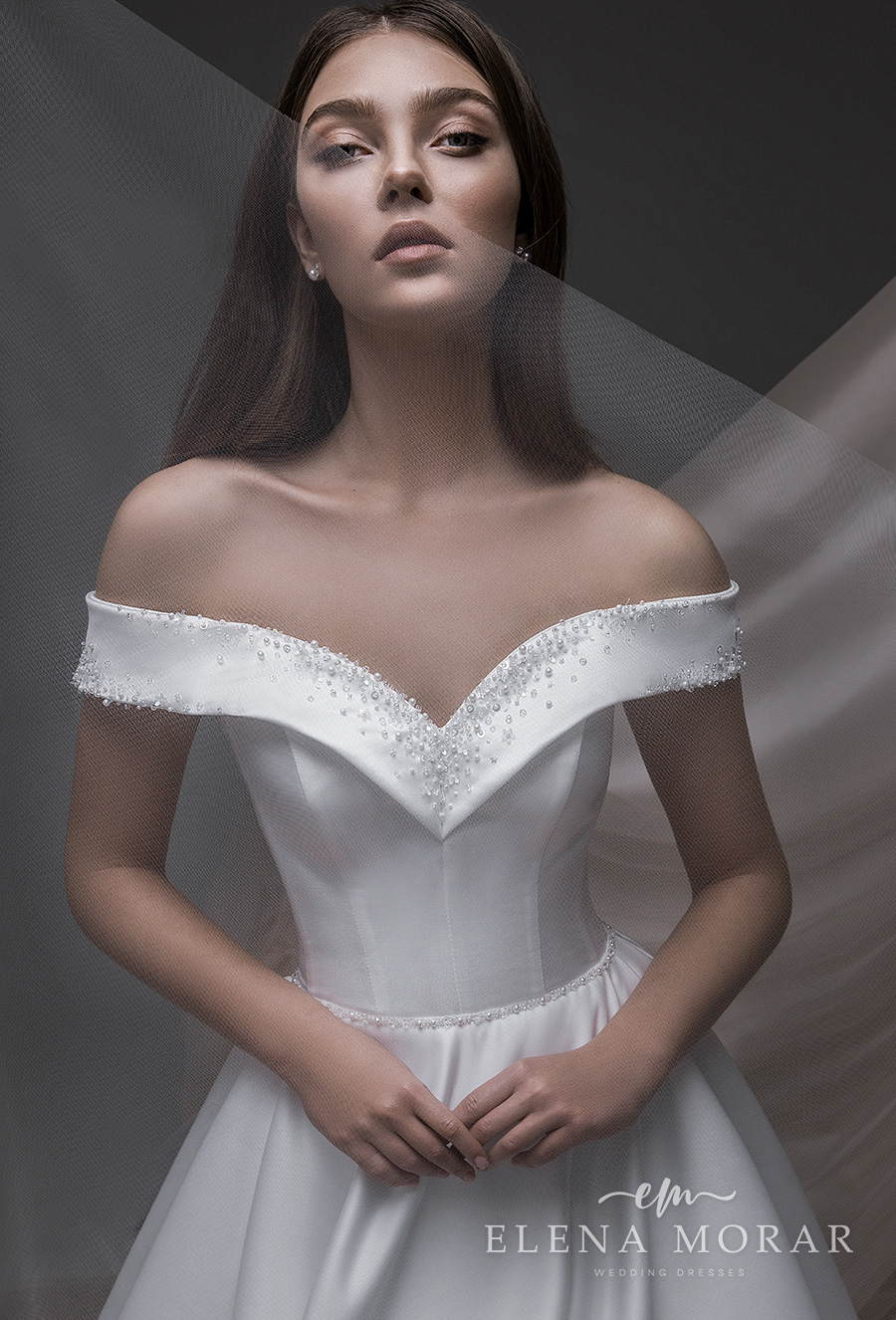 elena morar 2021 desert rose bridal off shoulder v neck simple minimalist elegant princess ball gown a line wedding dress mid back chapel train (007) zv