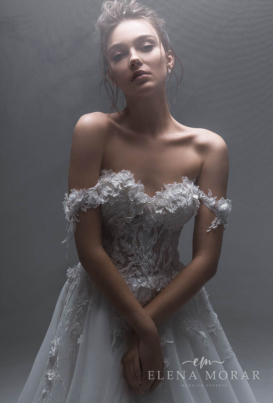 elena morar 2021 desert rose bridal off the shoulder sweetheart neckline heavily embellished bodice romantic a line wedding dress corset back chapel train (039) mv zv