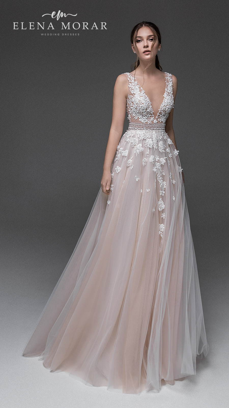 elena morar 2021 desert rose bridal sleeveless deep v neck heavily embellished bodice romantic blush soft a line wedding dress v back sweep train (021) mv