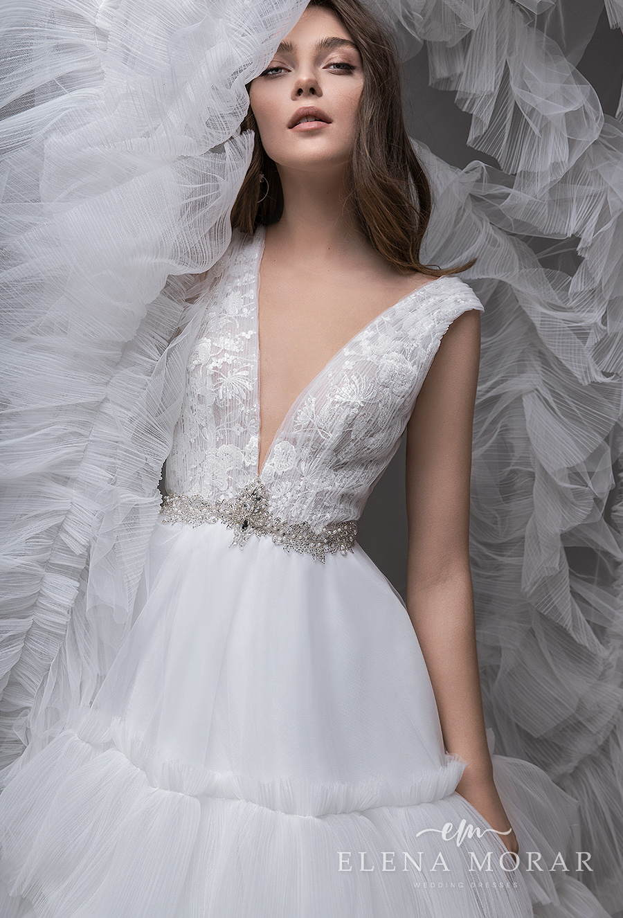 elena morar 2021 desert rose bridal sleeveless deep v neck heavily embellished bodice tiered skirt princess a line wedding dress v back royal train (015) zv mv