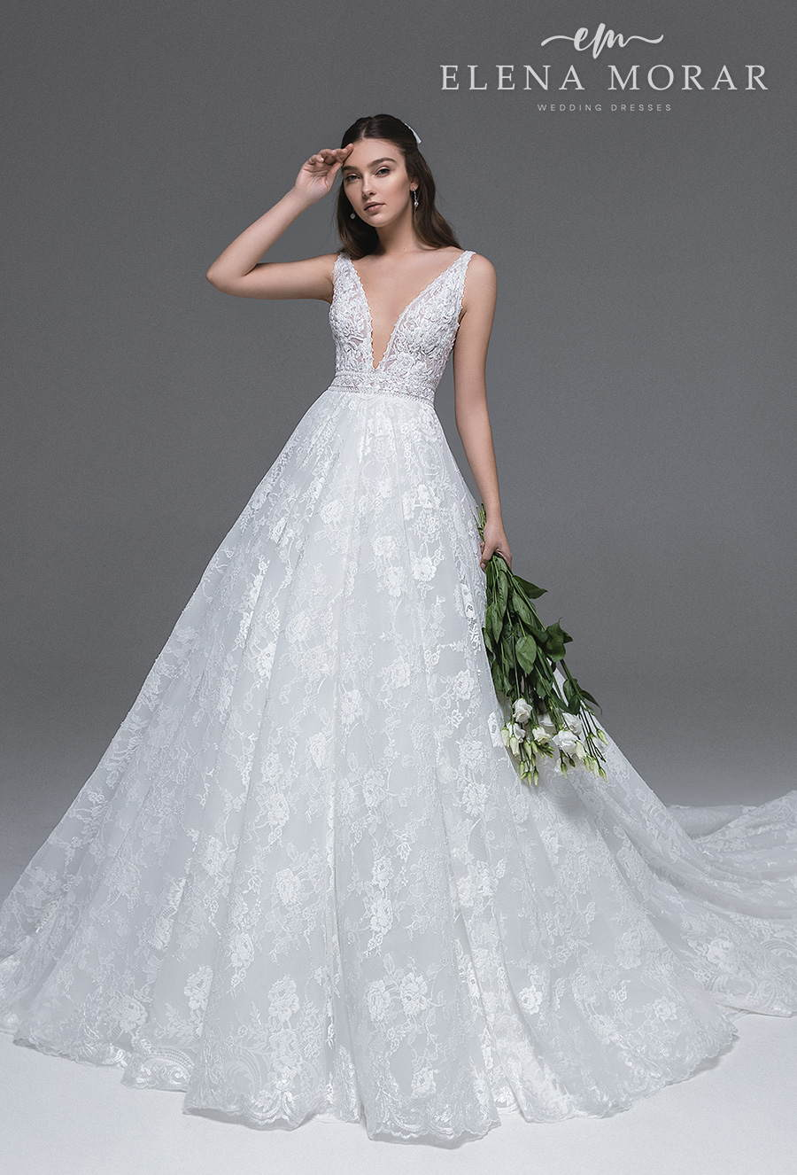 elena morar 2021 desert rose bridal sleeveless with strap deep v neck full embellishment romantic a line wedding dress v back chapel train (033) mv