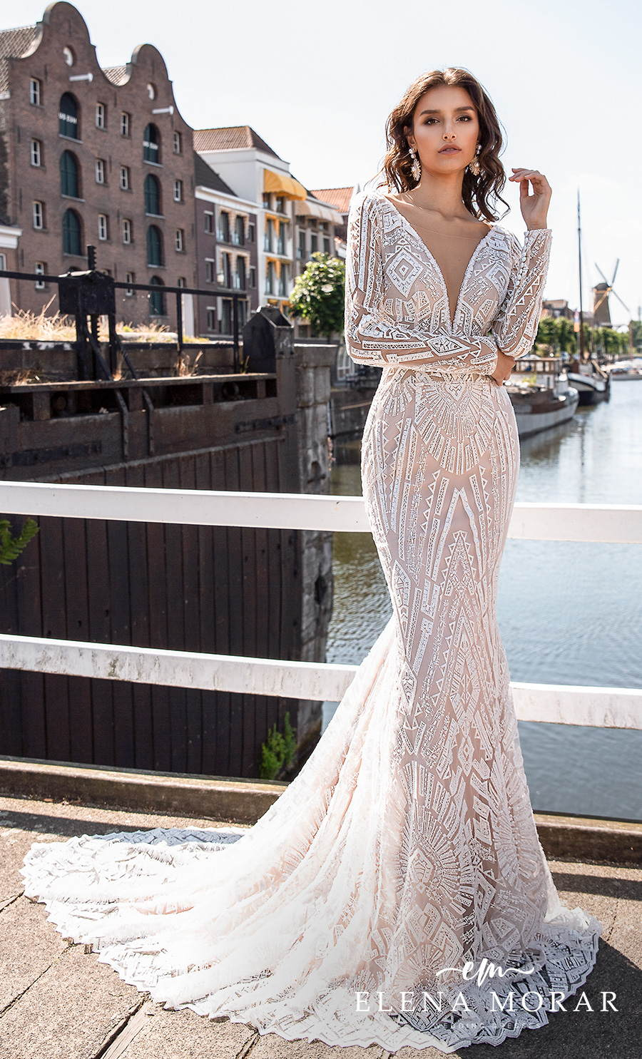 elena morar 2021 rotterdam bridal long sleeves deep plunging v neck full embellishment elegant glamorous fit and flare wedding dress v back medium train (rm005) mv